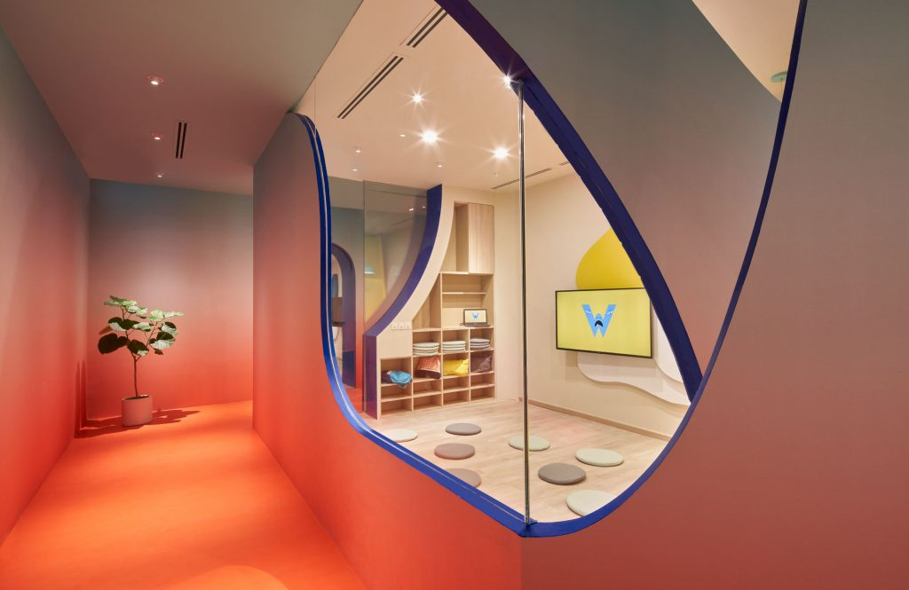 Our creative learning space featuring bright colours and audio-visual technology
